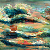 Mixed-media artwork Big Turquoise Sky, 2012 by Sandra  Martin