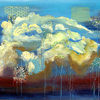 Mixed-media artwork Blue Skies, 2013 by Sandra  Martin