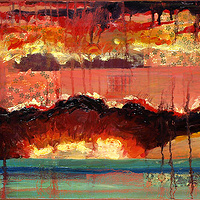 Mixed-media artwork Coral Sunset, 2013 by Sandra  Martin