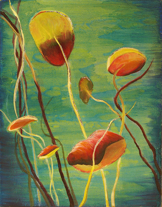 Mixed-media artwork Water lilies 10, 2013 by Sandra  Martin