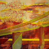 Mixed-media artwork Neon Ramp, 2012 by Sandra  Martin