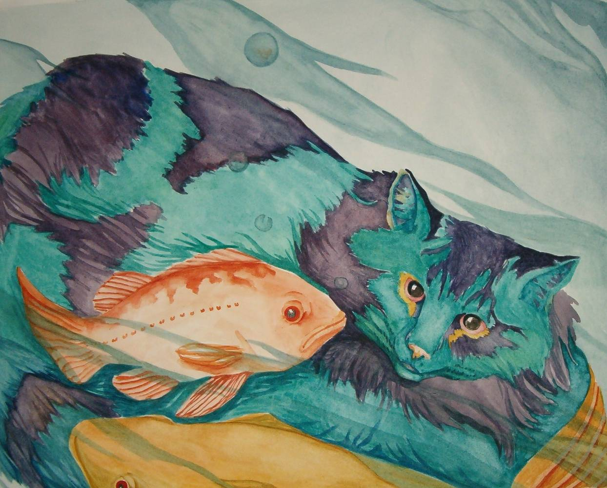 Acrylic painting cat's fishy dream by Claudia Stewart