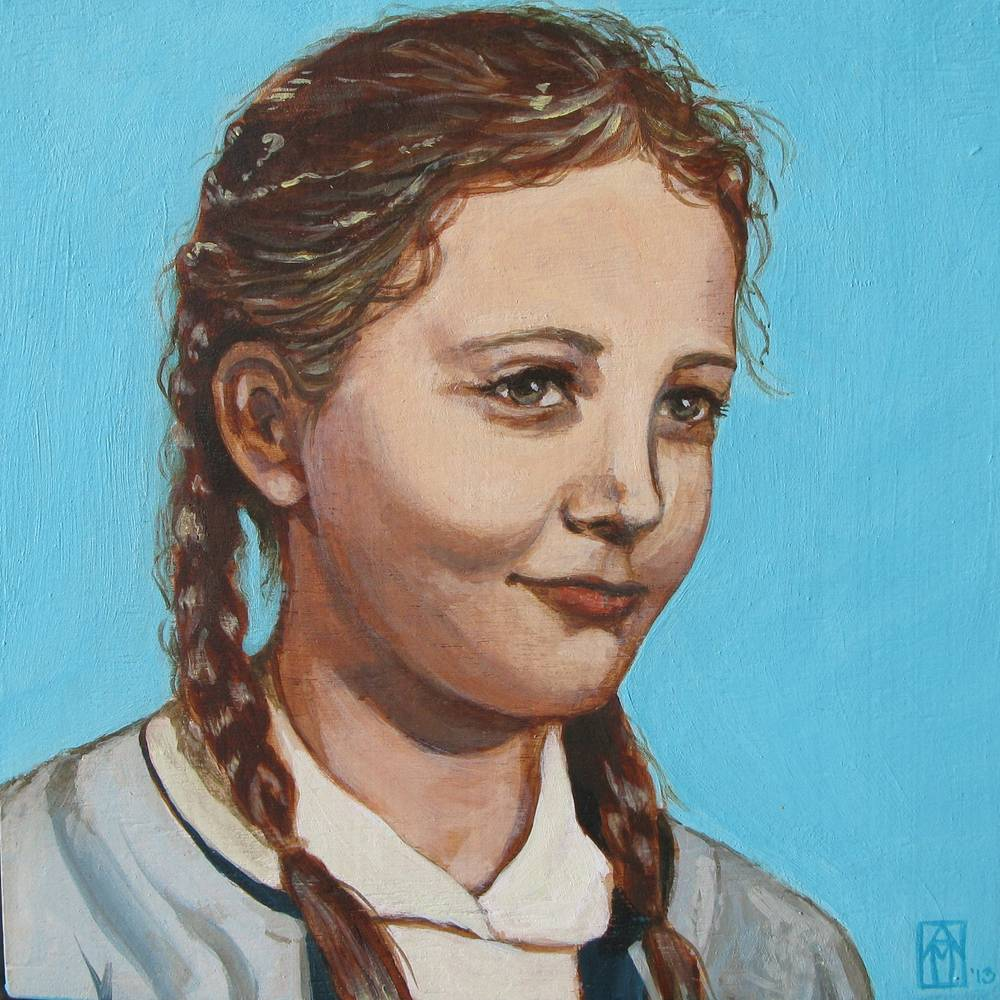 Acrylic painting Sharon as a Young Girl by Amber Macgregor