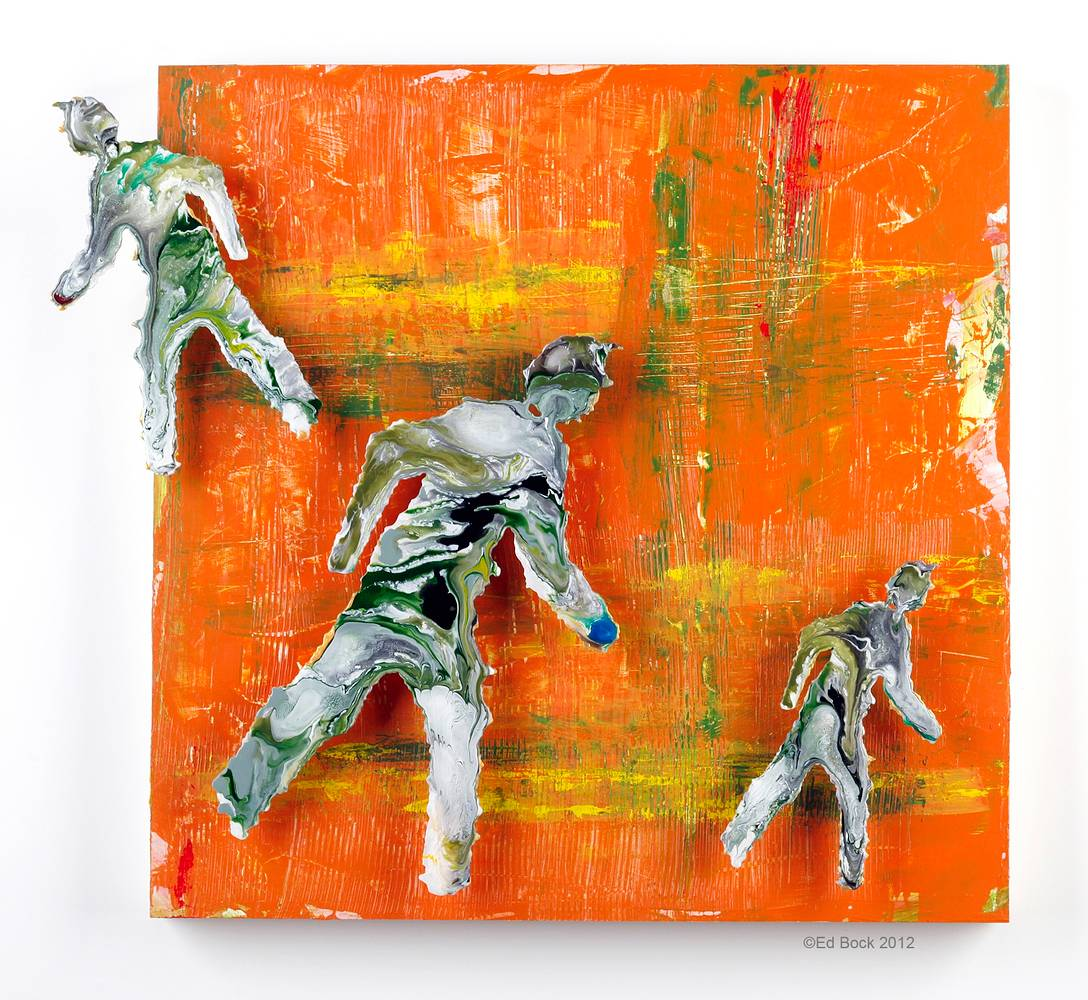 Acrylic painting Pedestrians on Orange 18x21 by Edward Bock