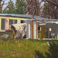 Oil painting Homes of Baladullah by Amie Rangel