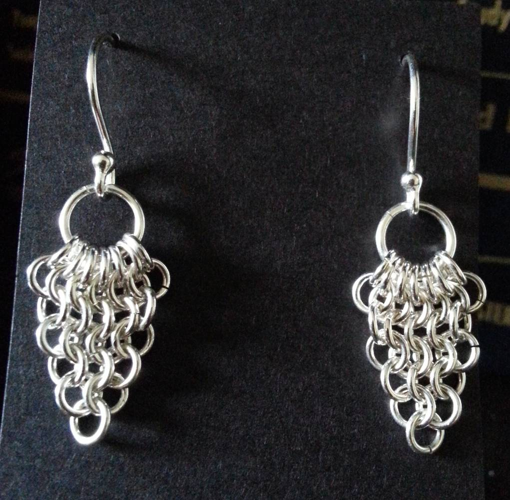 Chainmaille triangle earrings by Vicki Allesia