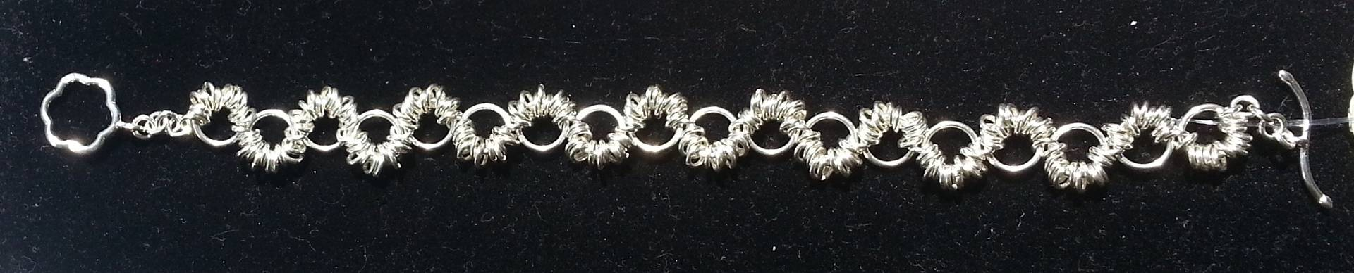 Sterling silver worm chainmaille bracelet  by Vicki Allesia