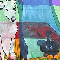 Pawson Park Murals - Nanaimo's 1st hospital, Lookout slide & dog & duck by Yvonne Vander Kooi