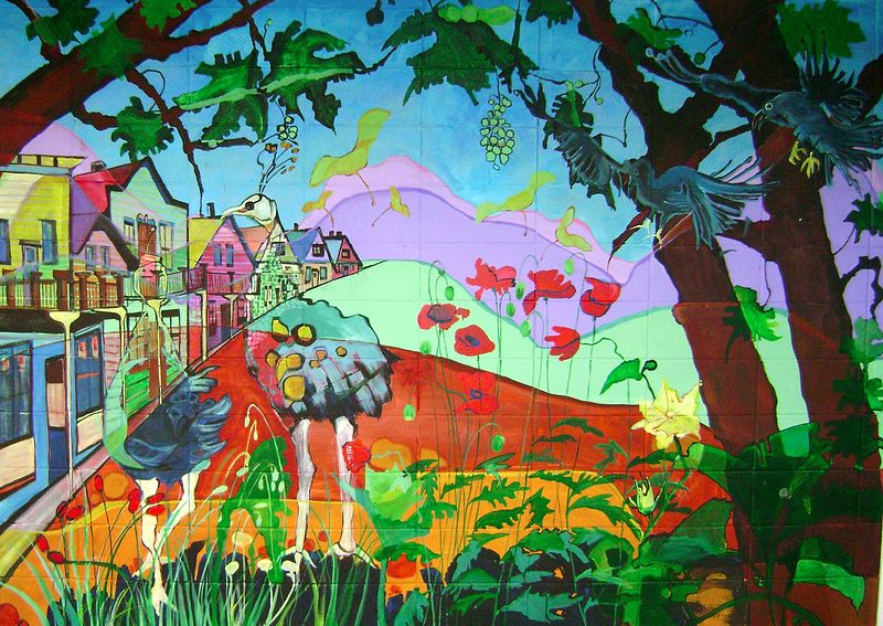 Painting Pawson Park Murals - Chinatown, Pea hens & crows by Yvonne Vander Kooi