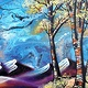 Acrylic painting Abstract Aspens XVI  by Isaac Carpenter