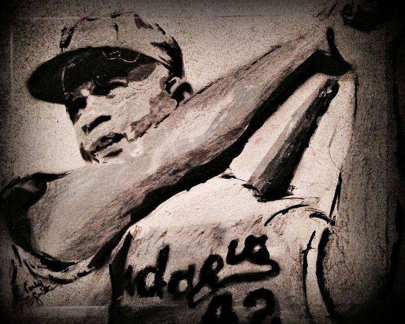 Acrylic painting Jackie Robinson by Carly Jaye Smith