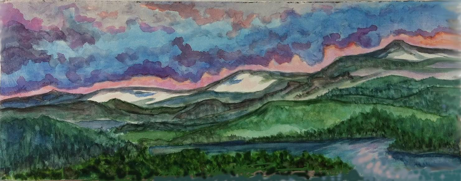 Watercolor Ashoken Sunrise by Anastasia O'melveny