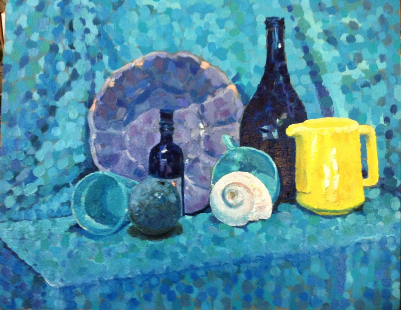 Oil painting Still Life with Shell- Blue by Anastasia O'melveny