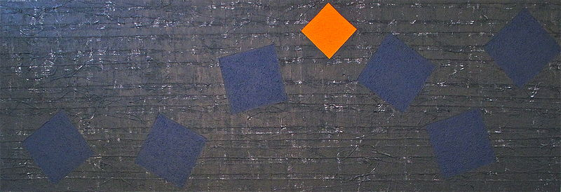 "Acrylic painting DANCING DEEP BLUE WITH ORANGE: 2013-2014. 34"" x 96"" by John Turner"