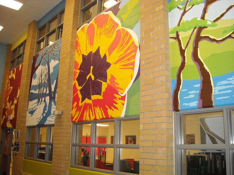 Painting Silver Stream P.S. - Library - Four Seasons Mural - FULL VIEW by Cindy Scaife
