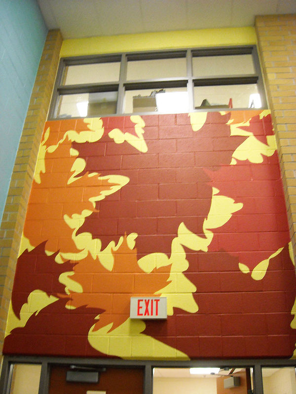 Painting Silver Stream P.S. - Library - Four Seasons Mural - FALL by Cindy Scaife