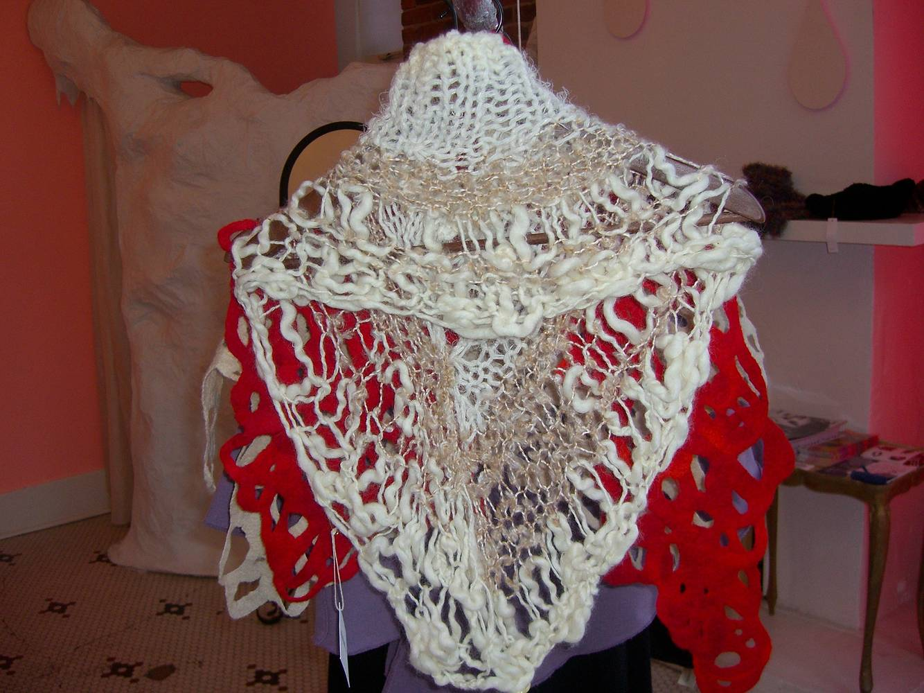 hand knit wool caplet by Sarah Martin