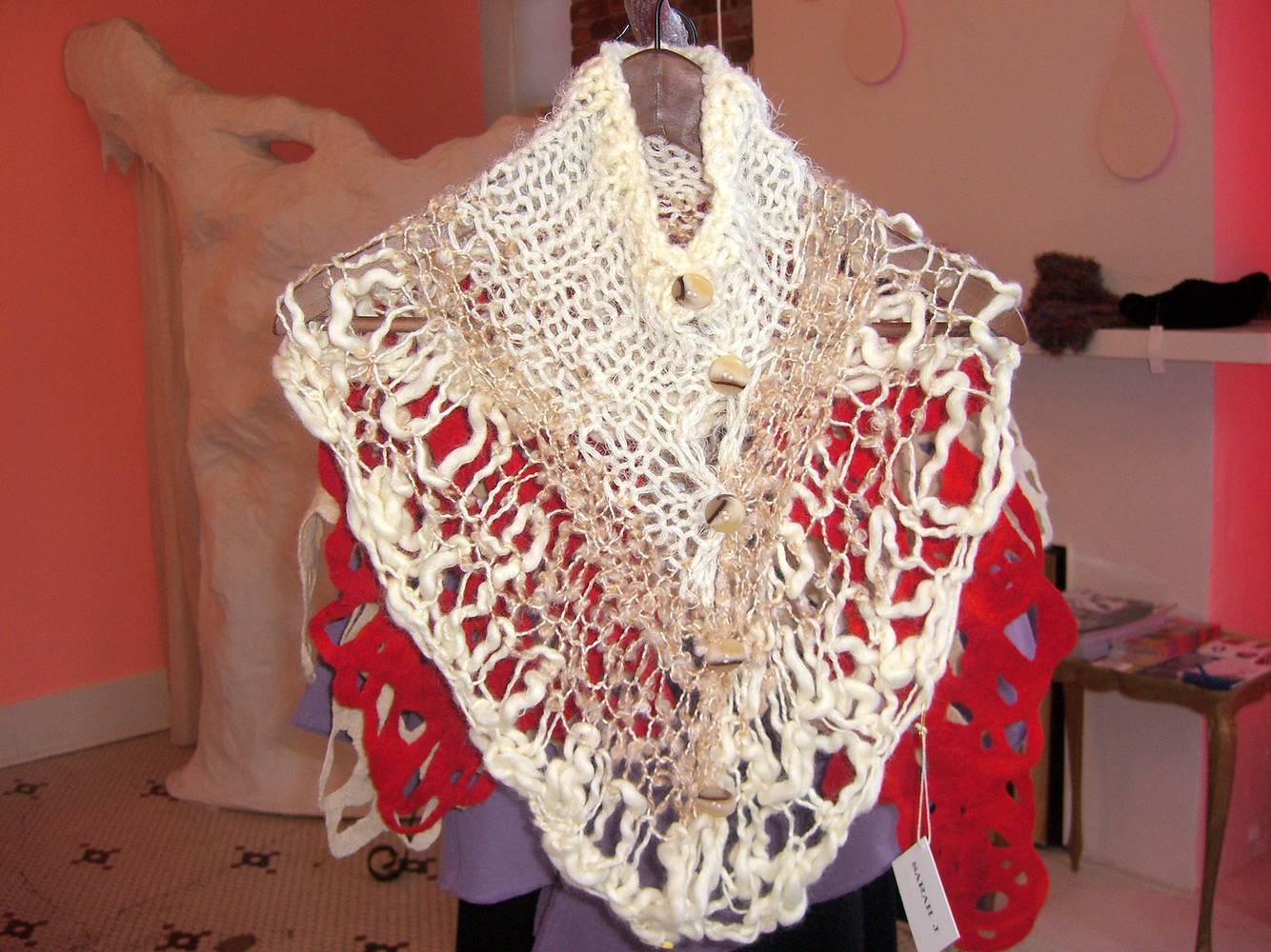 hand knit caplet by Sarah Martin