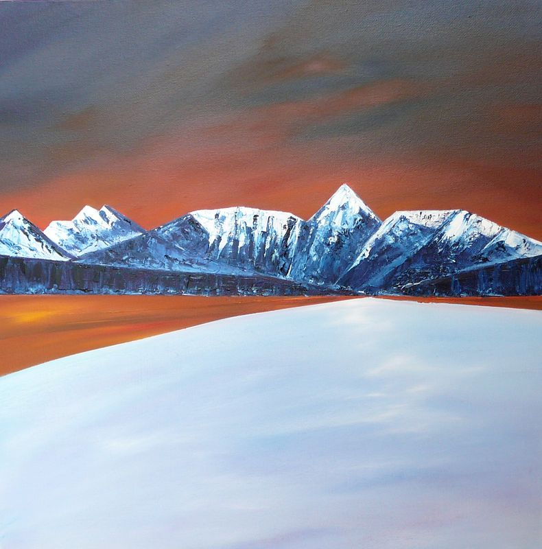 Oil painting Winter Lake #1  SOLD by Wayne Pitchko