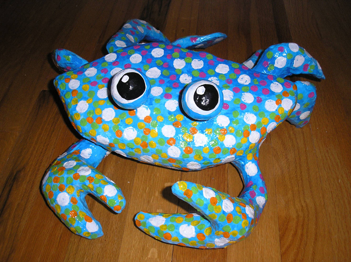 Sculpture Blue polka dot Crab by Valerie Johnson