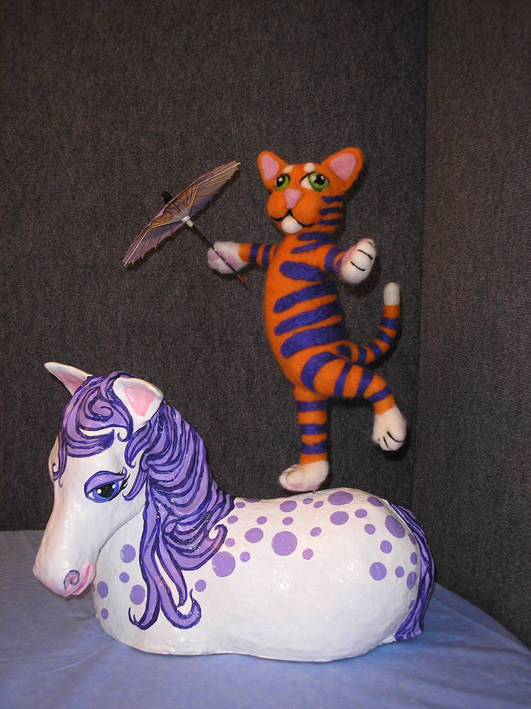 Sculpture  Happy Cat Joins the Circus by Valerie Johnson