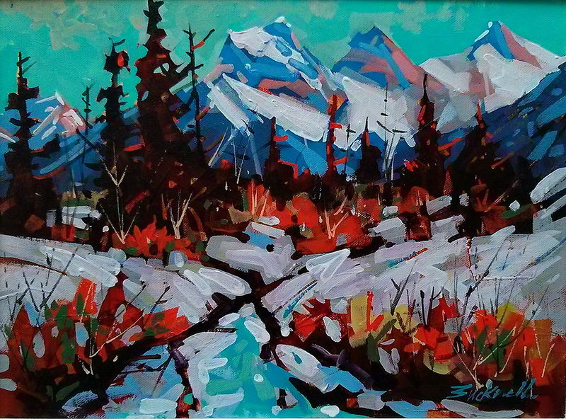 Behind Canmore  Acrylic 12x16 2013  by Brian  Buckrell
