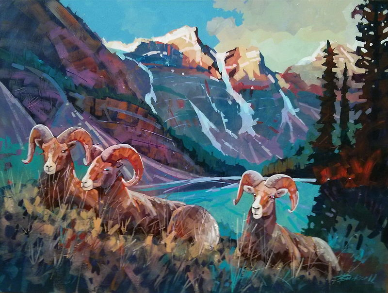 Moraine Lake Morning Acrylic 30x40 2013 by Brian  Buckrell
