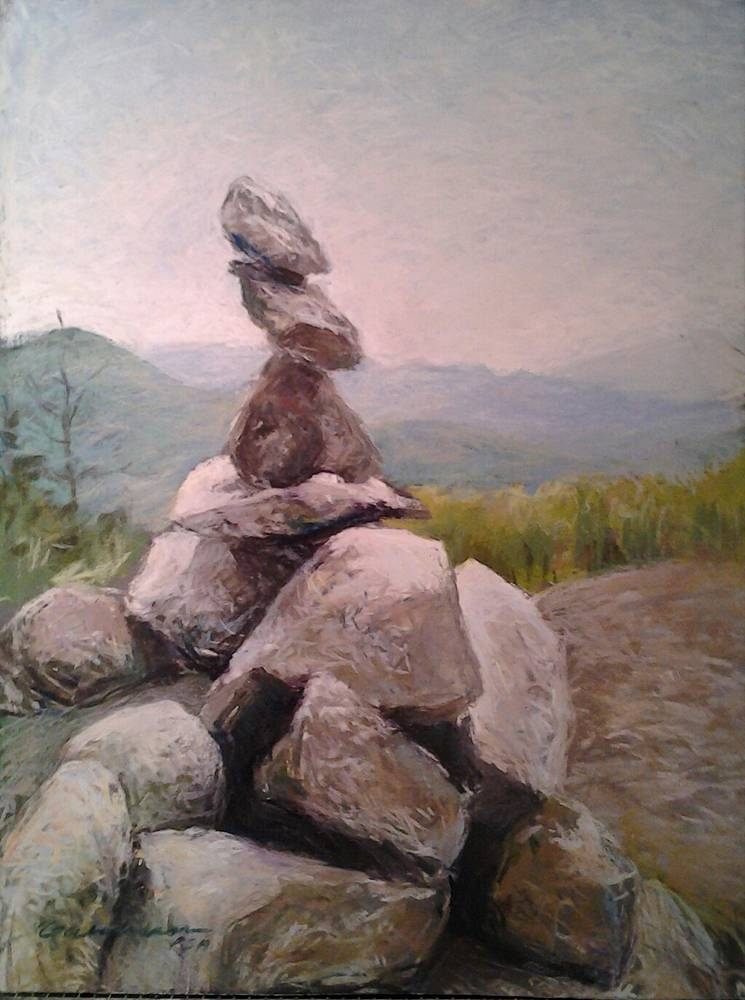 Little Cairn on Big Crow 16x20in pastel by Michael  Gaudreau