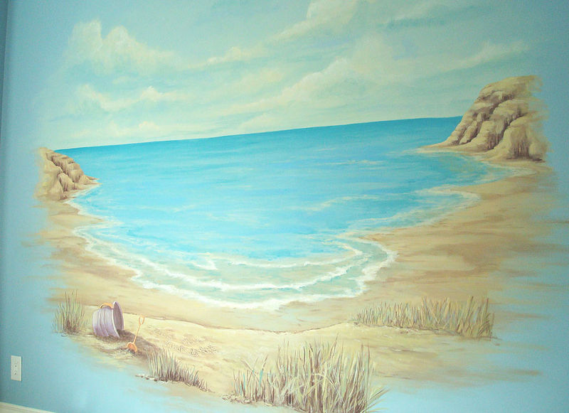 Painting Beach Mural - Play Room - 1 of 2 walls by Cindy Scaife