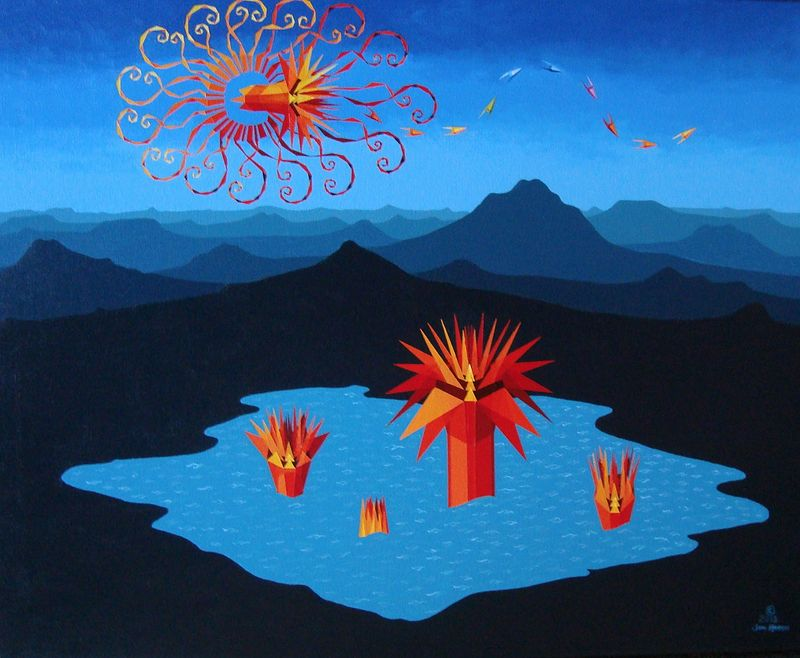 "Acrylic painting New Painting   ""Creation, The Lotus Pool"" by Jon Harris"