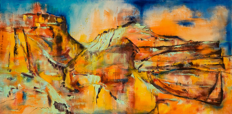 "Acrylic painting Badland Valley, 36"" X 72"" by Skai Fowler"