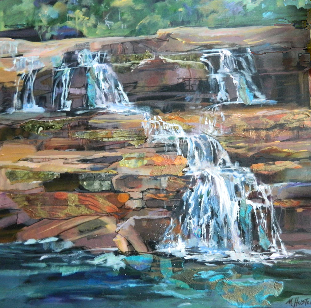 Mixed-media artwork Water Rocks by Marty Husted