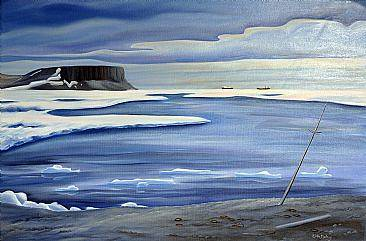 Oil painting On Our Own - Beechey Island - Nunavut, 2006 by Linda Lang