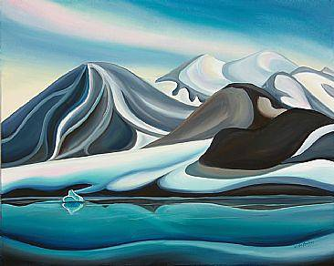 Oil painting Glacier Patterns on Bylot Island, 2011 by Linda Lang