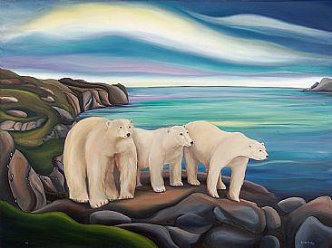 Oil painting Mama and the Kids Looking for Food, 2011 by Linda Lang
