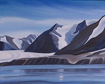 Oil painting Glacier Patterns on Mountains, Baffin Island, 2008 by Linda Lang
