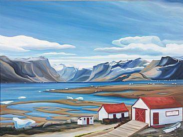 Oil painting Old Blubber Station, Pangnirtung, Baffin Island 2006 by Linda Lang
