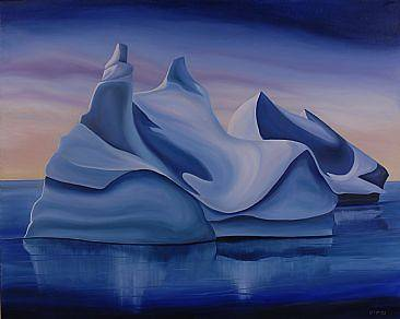 Oil painting Polar Pyramids, 2007 by Linda Lang