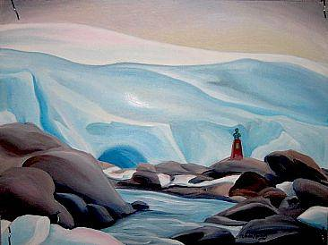 Oil painting Point Wilde, Antarctica, 2010 by Linda Lang