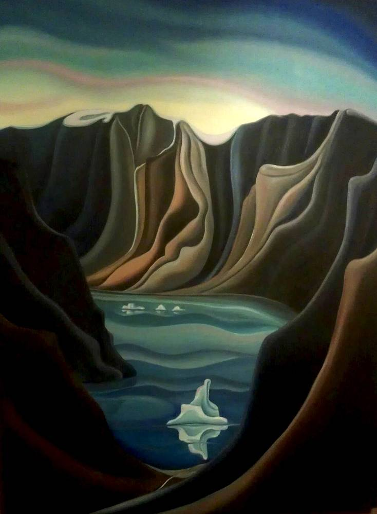 Oil painting View from Here, Baffin Island, 2013 by Linda Lang
