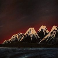 Oil painting Midnight Mountains by Wayne Pitchko