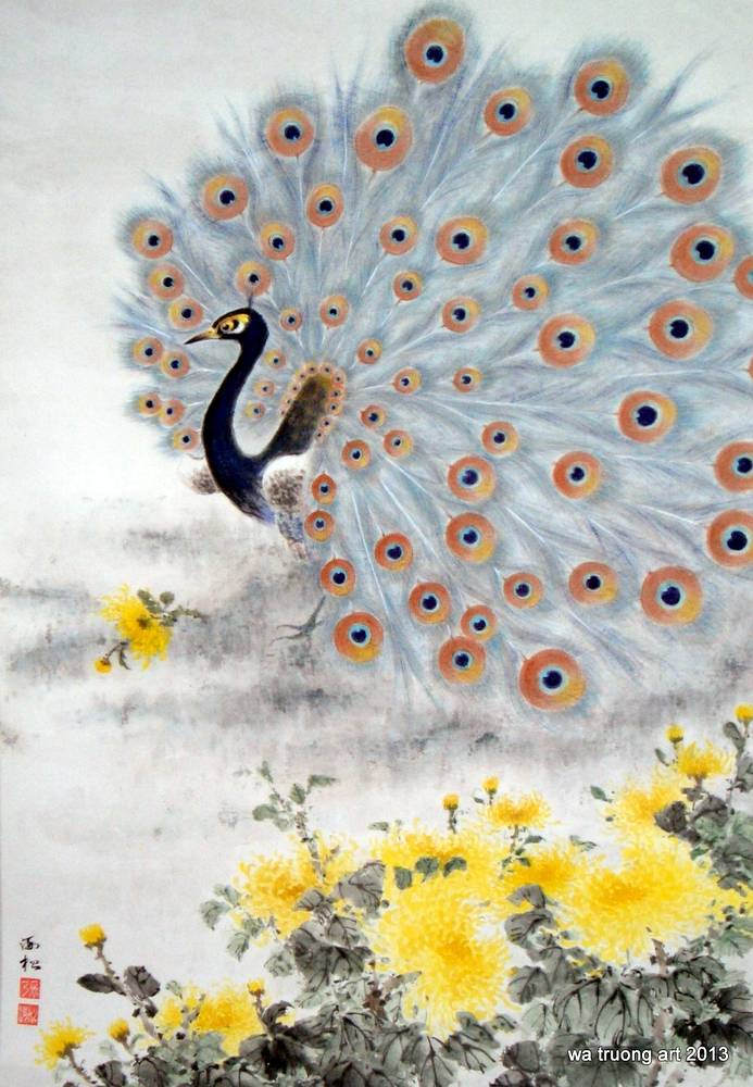 Peacock with Flowers by Dat Truong