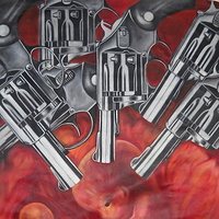 Oil painting  embryonic violence by Timothy Innamorato
