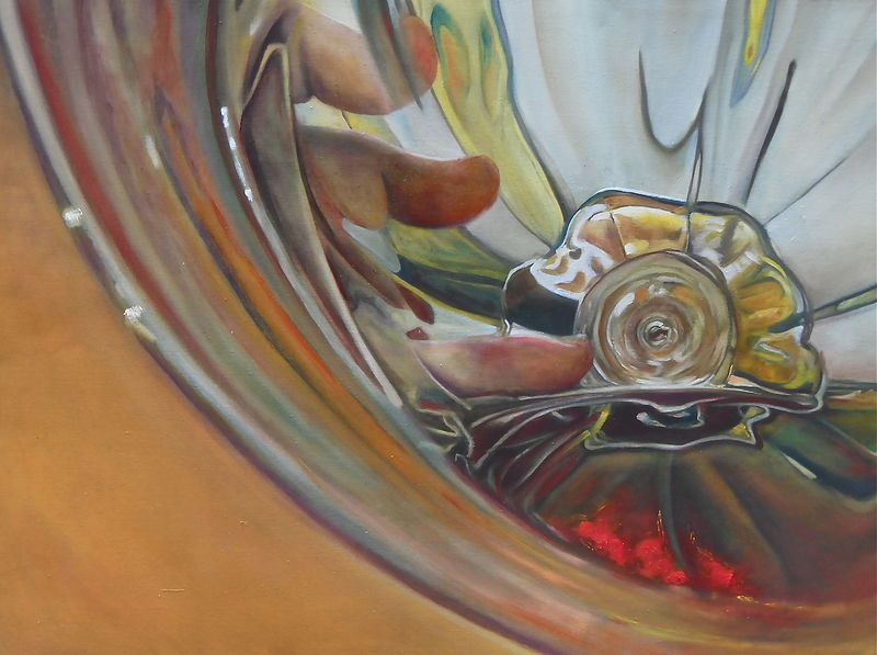 Oil painting bottom of the glass by Timothy Innamorato
