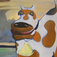 Oil painting mad cow  by Timothy Innamorato