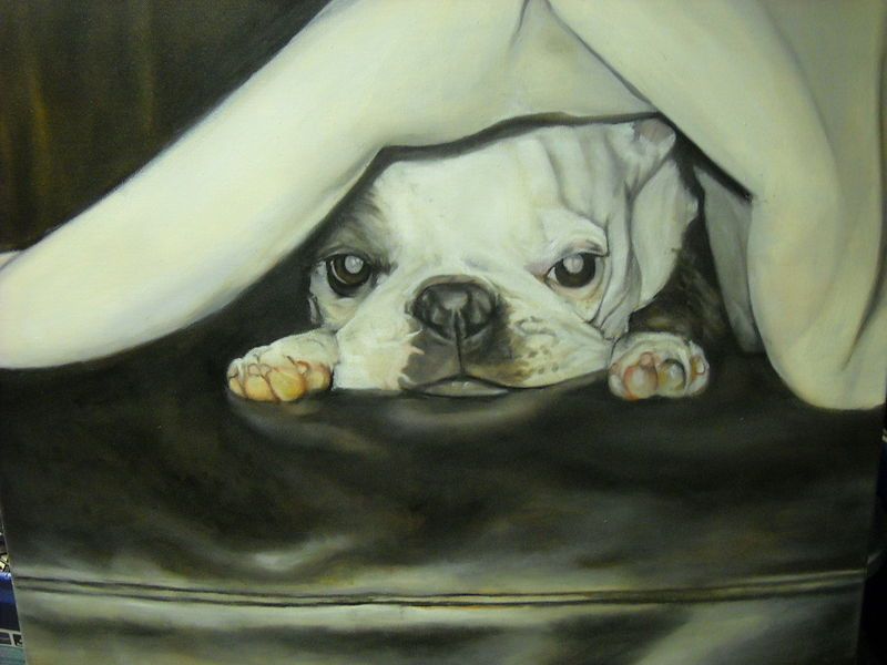 Oil painting Karen's pup by Timothy Innamorato