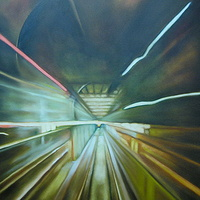 Oil painting subway vroom_1 by Timothy Innamorato