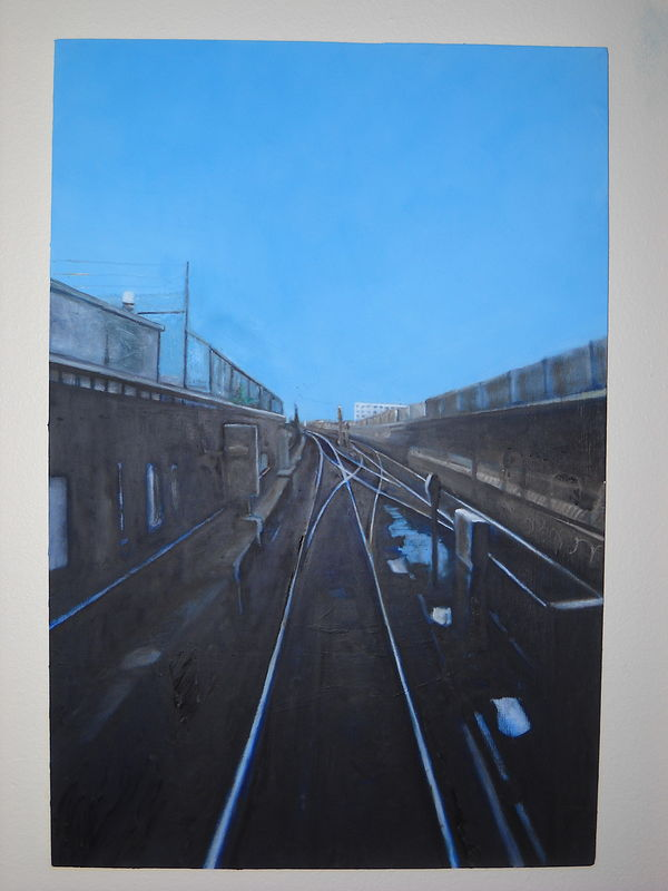 Oil painting going out on the 7 train by Timothy Innamorato