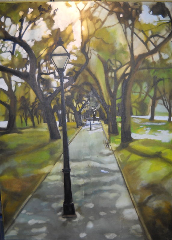 Oil painting Evening at the park by Timothy Innamorato