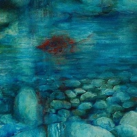 Oil painting Water Blues I by Libuse Labik